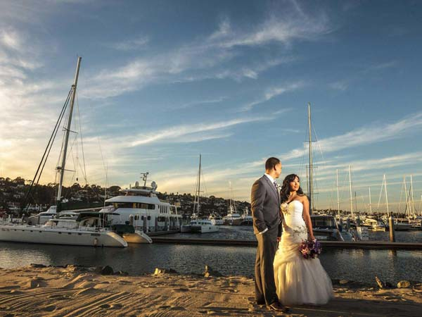 Beach wedding couple San Diego