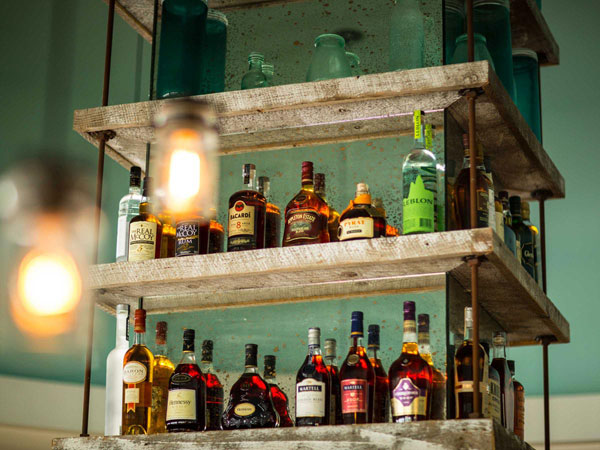 liquor bottles at San Diego bar